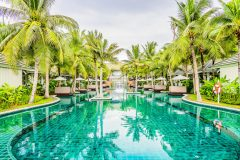 Outdoor Swimming pool in hotel resort for summer vacation background